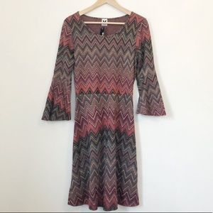 Missoni Zigzag Metallic Knit Bell Sleeve Dress